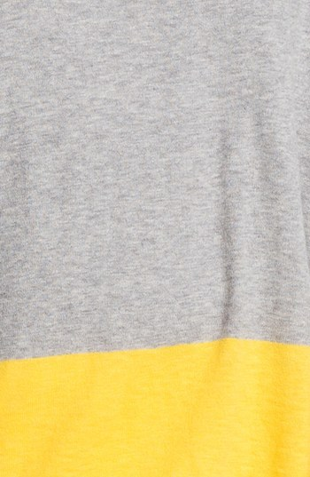 Vince Colorblock Cotton Sweater Heather Grey/ Canary Large
