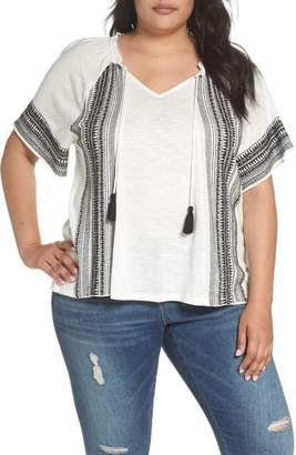 Caslon Embroidered Border Peasant Top