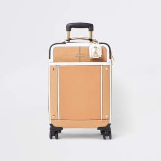 River Island Womens Beige front pocket four wheel suitcase