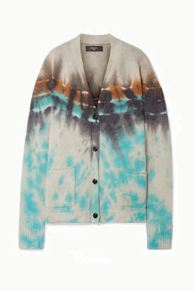 Amiri Oversized Tie-dyed Cashmere And Wool-blend Cardigan - Cream
