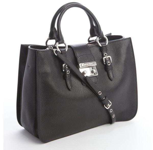 Miu Miu black leather 'Madras' top handle tote