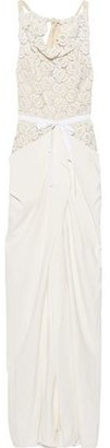Roland Mouret Hexam Tie-back Guipure Lace And Draped Cady Gown