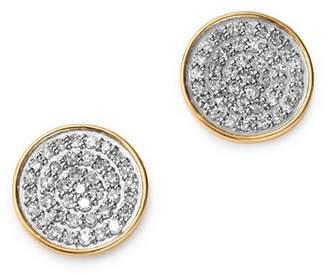 Adina 14K Yellow Gold Pavé Diamond Large Disc Stud Earrings