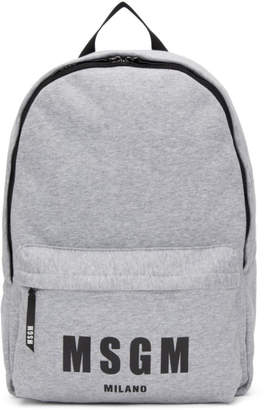 MSGM Grey Logo Jersey Backpack