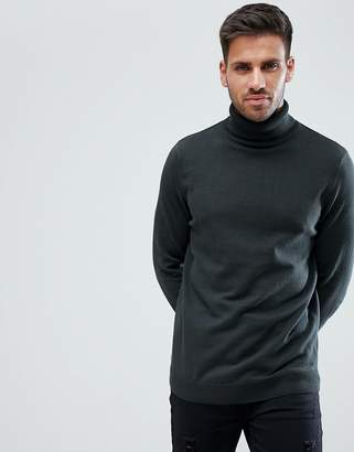 New Look Roll Neck Sweater In Dark Green