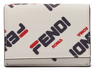 Fendi Mania Logo Print Tri Fold Leather Wallet - Womens - White Multi