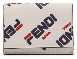 Fendi Mania Logo Print Tri Fold Leather Wallet - Womens - White Multi