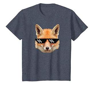 Red Furry Fox T Shirt Fox in Deal With it Pixel Glasses Tee