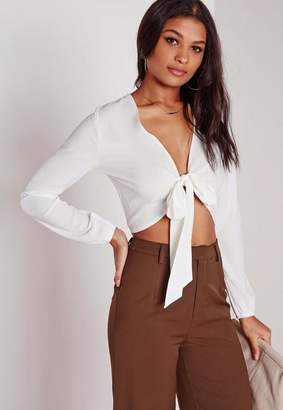 Tie Front Cropped Blouse White $24 thestylecure.com