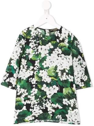Dolce & Gabbana white geranium printed top