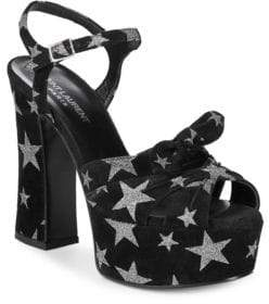 Saint Laurent Star Print Platform Sandals