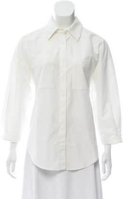 Diane von Furstenberg Button-Up Three-Quarter Sleeve Blouse