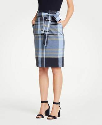 Ann Taylor Petite Madras Tie Waist Pencil Skirt