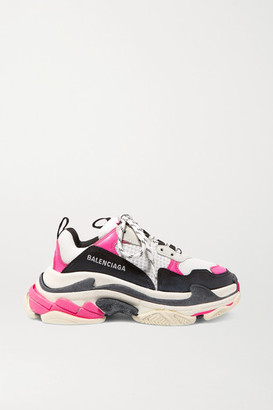 Balenciaga Triple S Logo-embroidered Leather, Nubuck And Mesh Sneakers - White