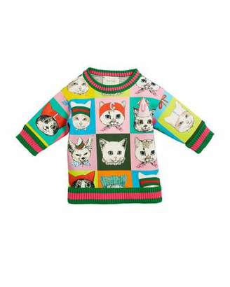 Gucci Pets-Print Sweatshirt w/ Knit Web Trim, Size 4-12