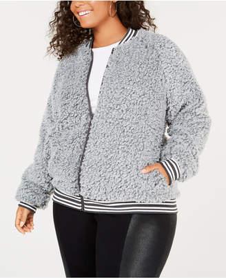Say What Trendy Plus Size Fleece Bomber Jacket