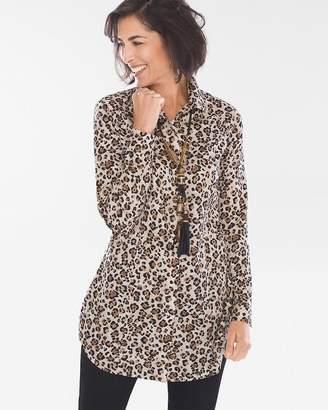 No Iron Sateen Leopard-Print Tunic