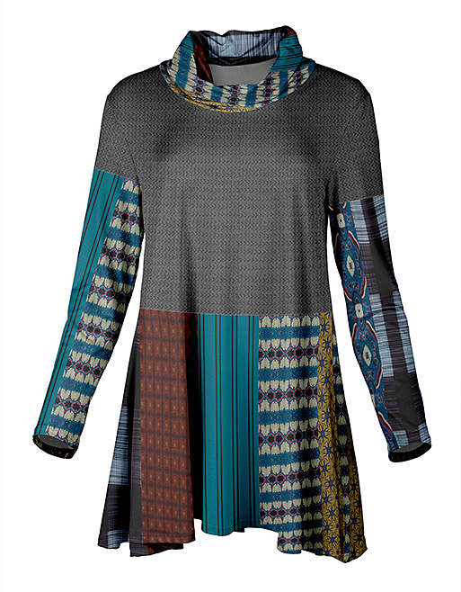 Gray & Beige Geometric Patchwork Cowl Neck Tunic - Plus