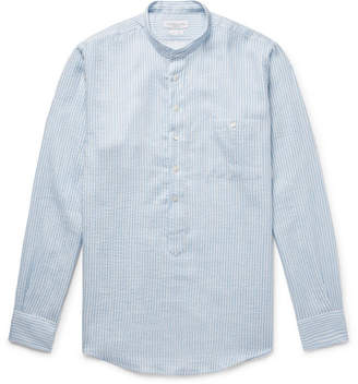 Richard James Grandad-Collar Striped Textured Cotton And Linen-Blend Henley Shirt