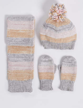 Marks and Spencer Kids' Striped Hat & Scarf with Mittens Set
