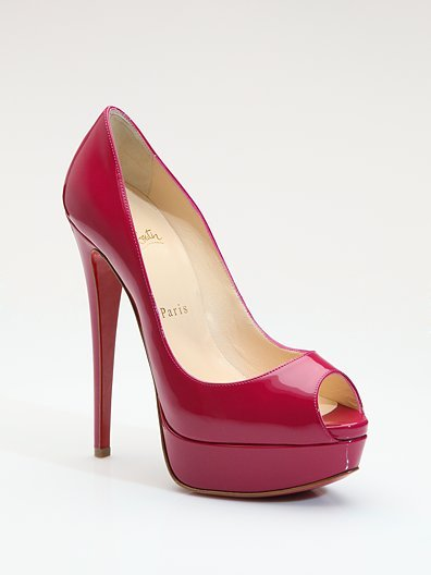 Christian Louboutin Lady Peep Patent Leather Platform Pumps