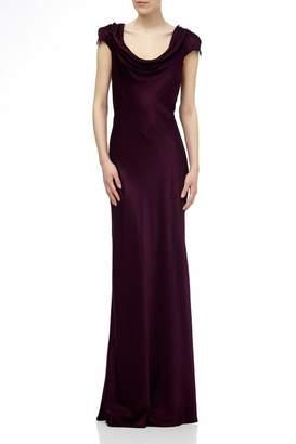 Ghost Womens London Purple Sylvia Bloom Satin Maxi Dress - Purple