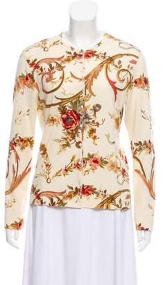 Christian Dior Crew Neck Floral Print Cardigan