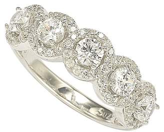 LeVian Suzy Jewelry Sterling Silver Round-Cut CZ Halo Ring