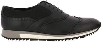 Prada Sneakers Derby In Smooth Leather And Technical Fabric With A Brogue Pattern