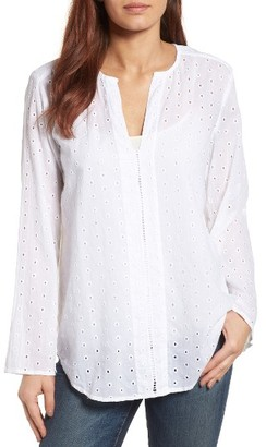 Women's Side Stitch Bell Sleeve Eyelet Tunic $69 thestylecure.com