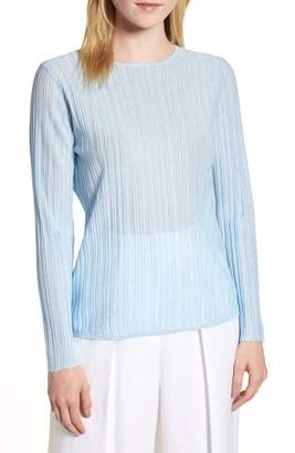 Lewit Sheer Rib Keyhole Back Sweater