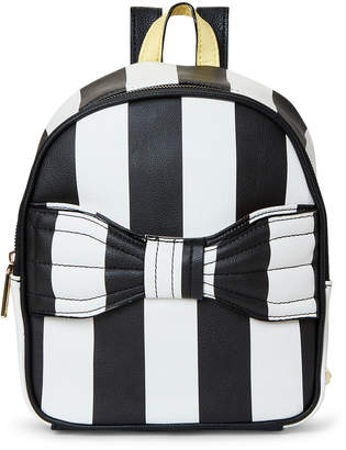 Betsey Johnson Black & White Stripe Bow Backpack