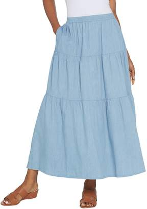Denim & Co. Petite Stretch Chambray Tiered Pull-On Maxi Skirt