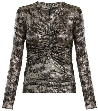 Isabel Marant Diego Floral Print Silk Blend Top - Womens - Silver