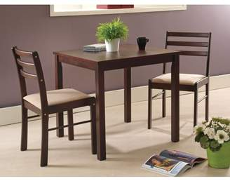 "Pilaster Designs Liz 3 Piece Espresso Wood Transitional Kitchen Dinette 30"" Square Table & Two Ladderback Chairs Set"