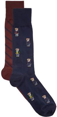 Ralph Lauren Rl Sock 2pack All Over Mini Bear