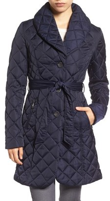 Women's Tahari Casey Quilted Shawl Collar Coat $210 thestylecure.com