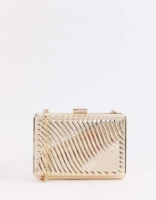 True Decadence gold metallic box clutch bag