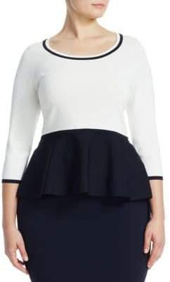 Marina Rinaldi Marina Rinaldi, Plus Size Peplum Colorblock Sweater