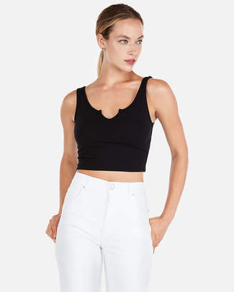 Express One Eleven Split Neck Cropped Tank