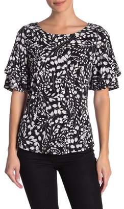 Karen Kane Abstract Floral Patterned Ruffle Short Sleeve Top