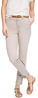 Esprit Women's 036EE1B001 - Belt Chino Trousers, Grey -(Manufacturer Size: 38/34)