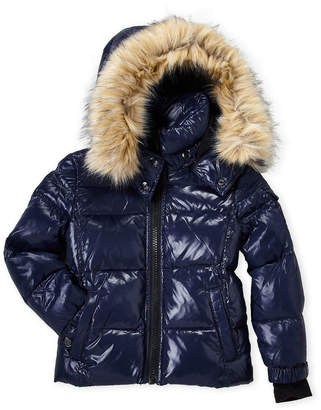 S13 Toddler Boys) Faux Fur Downhill Down Coat