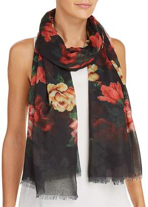 Aqua Floral Needlepoint-Print Scarf - 100% Exclusive