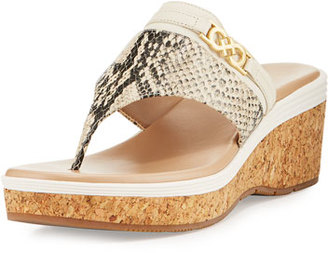 Cole Haan Lindy Grand Thong II Wedge Sandal, Snake $100 thestylecure.com