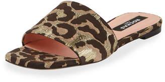 Rochas Leopard Brocade Flat Sandals