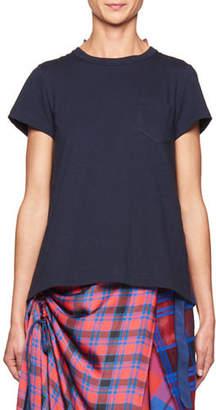 Sacai Short-Sleeve T-Shirt w/Plaid Back