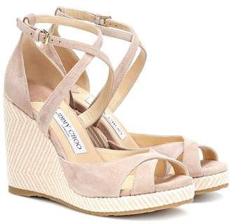 3e006fbe0138 Jimmy Choo Alanah 105 suede wedge sandals