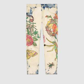 Gucci Flora Snake print denim tapered pant