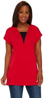 Susan Graver Premier Knit Extended Sleeve Tunic with V-Neck Inset